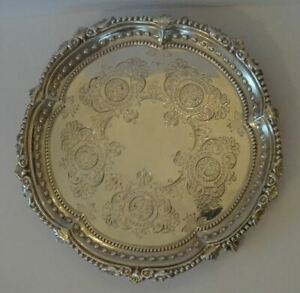 Good Antique Victorian English Sterling Silver Salver Waiter Card Tray C1897