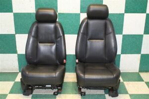 10 11 Escalade Esv Black Leather Heated Cooled Power Front Bucket Seats Pair Oem