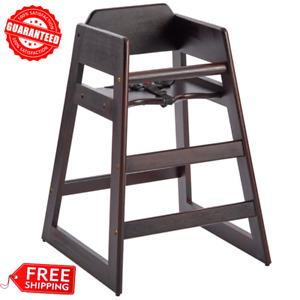 Commercial Restaurant Stacking Wooden Baby Toddler High Chair Secure Safety Belt
