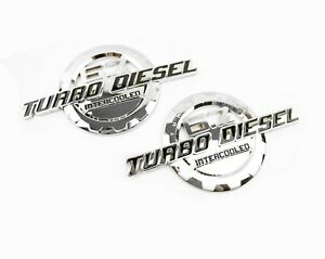 2 New Chrome 6 7l Turbo Diesel Intercooled Power Badges