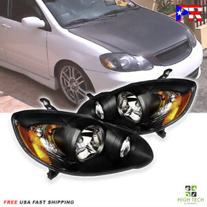 For 2003 2008 Toyota Corolla Ce Le S Xrs 4dr Sedan Black Amber Headlamps Focos