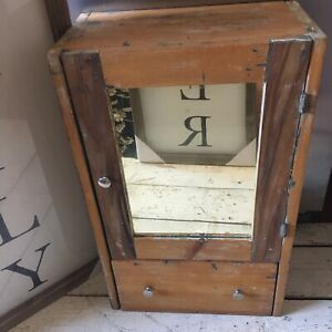 Antique Kitchen Bathroom Wall Cabinet Apothecary Mirrored Door Vintage W Drawer