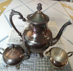 Vntg Fb Rogers Silver Co 10 Coffee Tea Pot Sugar Bowl Lid Creamer Set