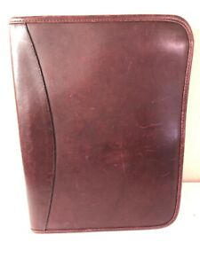 Levenger Planner Binder Note Pad Reddish Brown Leather
