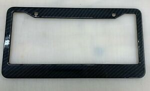 Carbon Fiber Style Metal Two Hole Wide Bottom Car Truck Universal License Frame