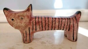 Vintage MCM Bitossi Raymor Aldo Londi Italy Cat Tiger Striped Figurine Signed