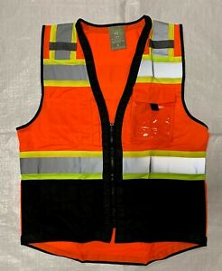Topcal High Visibility Safety Vest W see Through Water Proof Pocket Comm Grade
