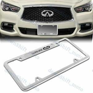 For X1 Nissan Infiniti Silver Metal Stainless Steel Plated License Plate Frame