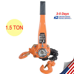Chain Lever Block Hoist Come Along Ratchet Lift 1 5ton 3000lb Capacity From Usa