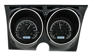 Metric 1967 68 Camaro Firebird Dakota Digital Black Alloy White Vhx Gauge Kit