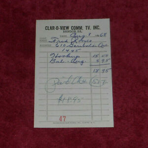 1968 Clar-O-View Commercial TV Inc Bangor Pennsylvania Billhead $11.11