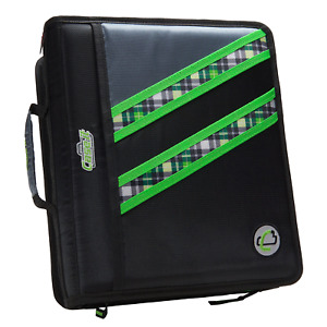 Case it Z binder Two in one 1 5 inch D ring Zipper Binders Green Plaid