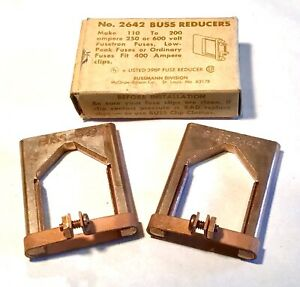 Nos Pair Of Bussman Buss Copper Fuse Reducers 2642