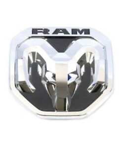 New Oem Mopar 2019 2020 Dodge Ram Chrome Tailgate Ram s Head Emblem Medallion