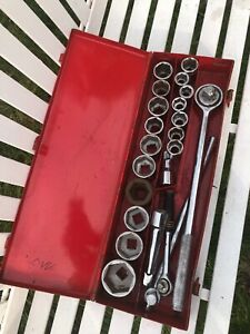 6 Point Socket Wrench Set 22pc Tool Box 22pc Box Big Jumbo Large Semi Truck