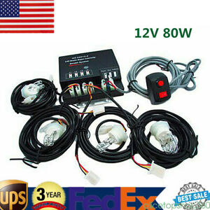 Emergency Strobe Light Headlight Kit Warning System 4 Hid Bulbs White 80w