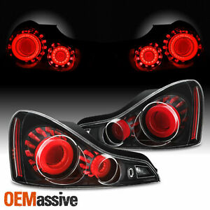 Gtr Style Fit 2008 2015 G37 Q60 Coupe 3d Led Tube Tail Light Black Assembly