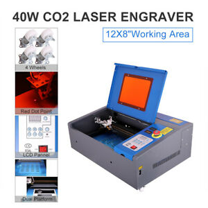 Co2 Laser Engraver Engraving Cutting Machine 40w 8x12 Lcd Red Dot Pointer