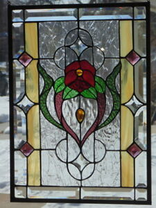 Stained Glass Transom Window Hanging 22 X 15 3 4 Brass Frame Edging
