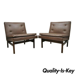 Pair Milo Baughman For Thayer Coggin Teak Vinyl Slipper Lounge Chairs