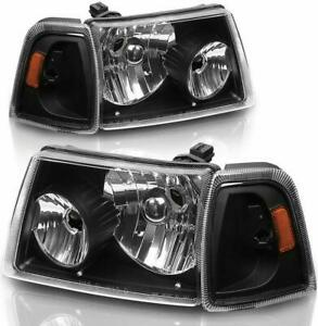 For 2001 2011 Ford Ranger Black Headlights With Amber Corner Turn Signal Lamps