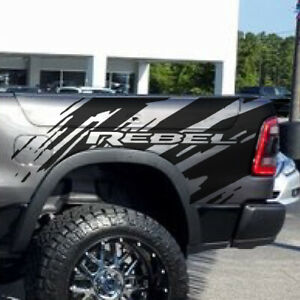2017 2020 Dodge Ram Rebel Splash Grunge Logo Truck Vinyl Decal Bed Graphic Box