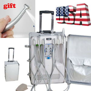Dental Portable Delivery Unit Cart Suitcase Compressor Equipment Led Handpiece
