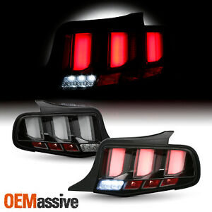 For 2010 2012 Ford Mustang Clear Tube Black Tail Lights W Led Sequential Signal