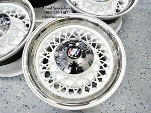 15 Buick White Chrome 52 Spoke Classic Wire Wheels 5 Lug Skylark Riviera New 4