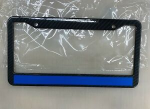 Reflective Thin Blue Line Support Police Black License Plate Frame Metal Carbon