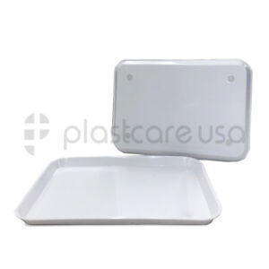 White Dental Autoclave Plastic Instrument Flat Set Up Trays Size B pack Of 12
