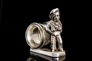 Victorian Silver Plate Figural Napkin Ring Sailor Boy Simpson Hall