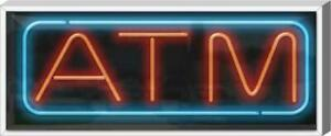 Outdoor Atm Neon Sign Outdoor Jantec 37 X 15 Bank Money Cash Finances