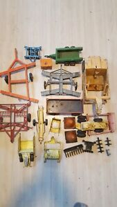 Lot Of Vintage Farm Toys Implements For Parts Or Repair Diecast And Plastic