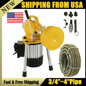 3 4 4 pipe Auger Drain Cleaner Snake Sectional Clog Sewer W Cutter Machine