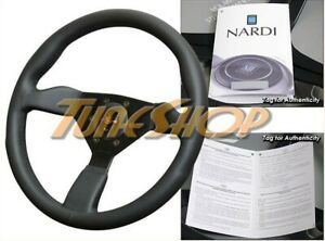 Italy Personal Grinta 350mm Steering Wheel Leather Black Stiching Silver Horn
