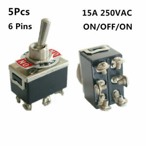 5pcs Toggle Switch On off on Heavy Duty 15a 250v Dpdt 6 Terminal Waterproof