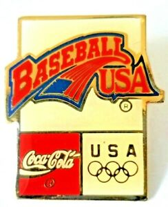 Coca Cola Olympics Collectible Pin ~ Baseball USA ~ Gold Tone Enamel Red Blue...