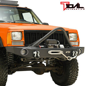 Tidal Fit For 84 01 Jeep Cherokee Xj Off Road Stinger Front Bumper W Winch Plate