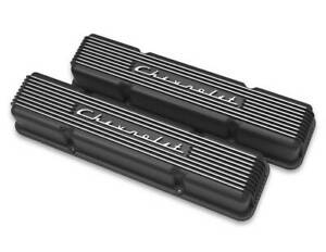 Holley Sbc Valve Covers Finned Vintage Series Black P N 241 108