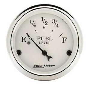 Auto Meter Old Tyme White 2 1 16in Fuel 240 33 Ohms P n 1606