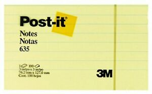 3m Post it r Lined Notes 3in X 5in Canary Yellow Pack Of 5