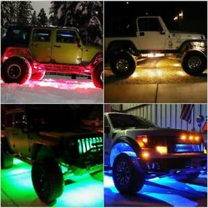 Multi Color Atv Off Road Led 6 Pods Underbody Rock Lights For Jeep Surface Mount