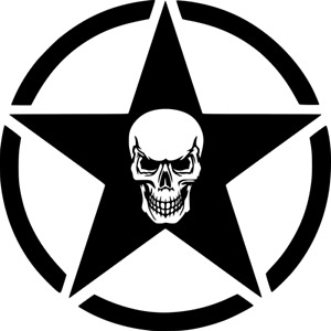 Army Star With Skull Vinyl Decal