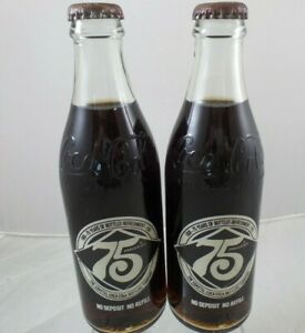 Coca-Cola 75th Anniversary 2 Bottles COASTAL Bottling Company 1981
