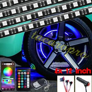 4x12 Rgb Car Truck Wheel Well Led Light Control Custom Neon Rim Tire Strip