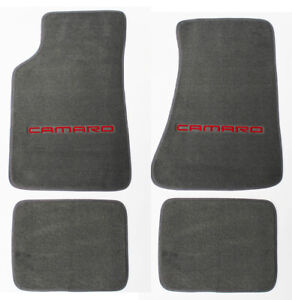New Gray Carpet Floor Mats 1982 2002 Camaro Embroidered Logo In Red On Fronts