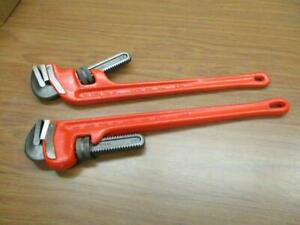 Ridgid 24 Pipe Wrench Set 2 Pcs Straight End Style New U s a