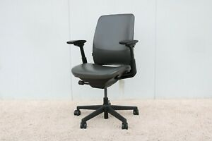 Steelcase Amia Executive Ergonomic Office Chair In Grey Leather Fully Adjustable