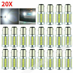 20x Bay15d 1157 Car Tail Stop Brake Light 33smd 5630 Led Canbus Bulbs 12v White